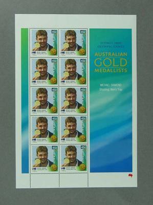 Sheet of 45c Australian stamps '2000 Australian Gold Medallists - Michael Diamond'