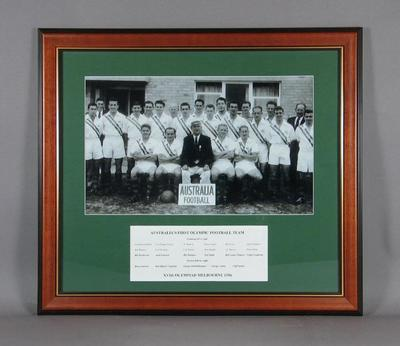 Copy of a 1956 photograph of Australian Olympic Football Team, 1956 Olympic Games, Melbourne.