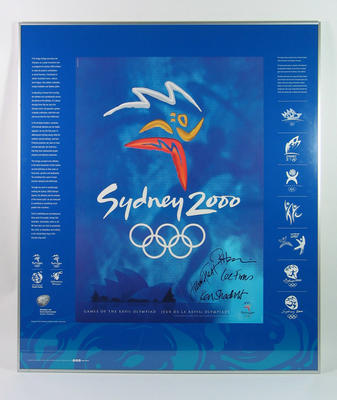Framed poster with design evolution of the Sydney 2000 Olympics logo