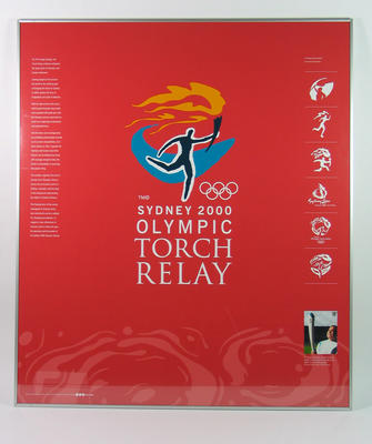 Framed poster of the design evolution of the Sydney 2000 Olympic Torch Relay logo