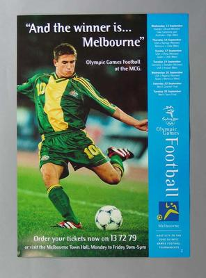 Poster - 'And the winner is ... Melbourne' announcing 2000 Olympic Games  Football at the MCG