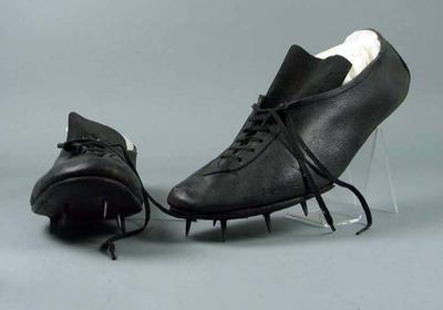 Pair of running spikes worn by M.R. 'Taffy' Jones, made by Hope Sweeney, c.1950s