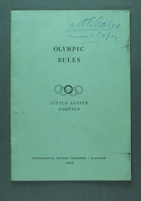 Booklet - 'Olympic Rules' International Olympic Committee, Lausanne, 1949, signature top of cover and flyleaf; annotations to original text in biro