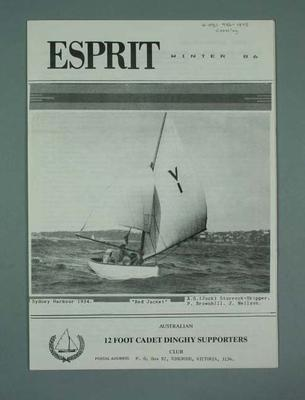 "Magazine, Australian 12ft Cadet Dinghy Supports Club ""Esprit"" - Winter 1986"