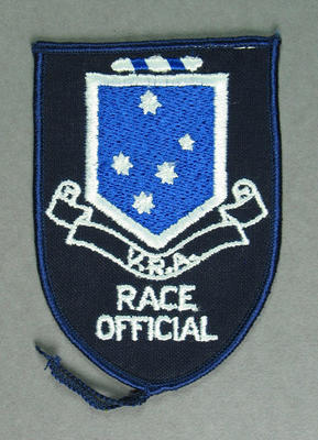 Cloth badge, Victorian Rowing Association - Race Official c1985-86
