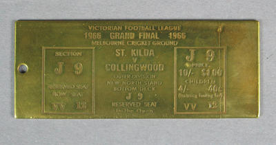 Brass replica, 1966 VFL Grand Final ticket - St Kilda v Collingwood
