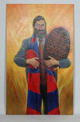 Painting titled 'He Leadth Us From the Wilderness', artist Spook, August 1998; artwork depicts Joseph Gutnick in a  Melbourne Football Club scarf