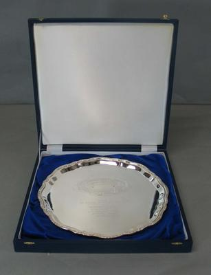 Large Silver Salver presented by the England & Wales Cricket Board to MCC marking 100th Test match 26 December 2006