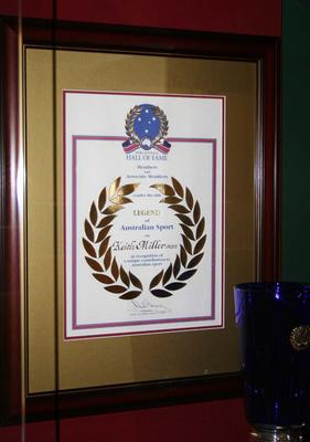 Sport Australia Hall of Fame 2004 framed Certificate awarded to Keith Miller