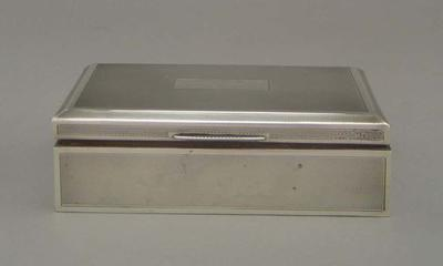 Silver cigarette case presented to Keith Miller in 1949