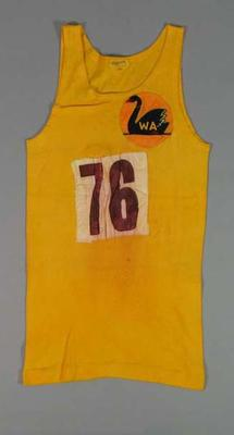 Singlet  - West Australian, No. 76, obtained by athlete Kenneth Macdonald at a State Title Meet c. 1930-50s