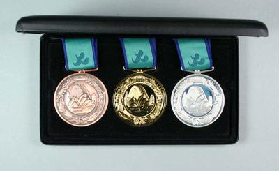 2000 Sydney Paralympic Games - 3 Medals in black presentation case.; Trophies and awards; Trophies and awards; 2000.3686