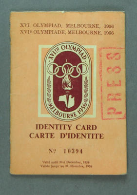 Press Identification Card No. 10394 for Ben Kerville - 1956 Melbourne Olympic Games