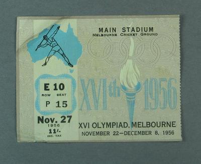 Ticket - Track & Field, Main Stadium, 1956 Melbourne Olympics, 27 November