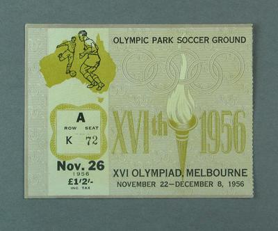 Ticket - Soccer, Olympic Park, 1956 Melbourne Olympics, 26 November