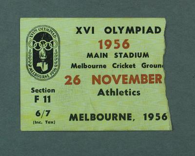 Ticket - Athletics, Main Stadium 1956 Melbourne Olympics, 26 November