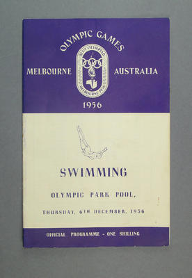 Programme - Swimming, 1956 Melbourne Olympic Games, 6 December