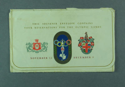 Envelope for 1956 Olympic Games Tickets, With Compliments of the Myer Emporium