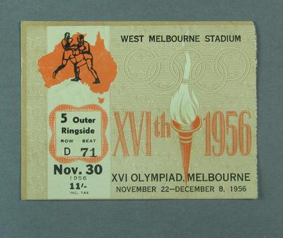 Ticket - Boxing, West Melbourne Stadium, 1956 Melbourne Olympics, 30 November