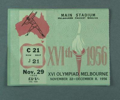 Ticket - Track & Field, Main Stadium, 1956 Melbourne Olympics, 29 November