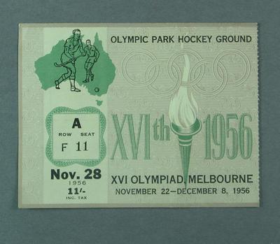 Ticket - Hockey, Olympic Park, 1956 Melbourne Olympics, 28 November