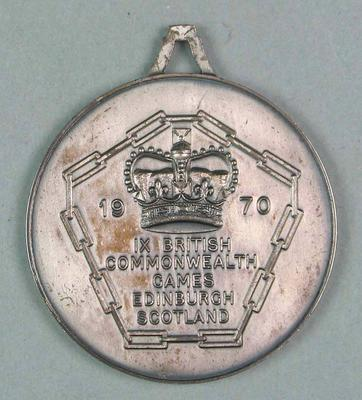 Silver medal won by Maureen Caird, 1970 Commonwealth Games 100m hurdles