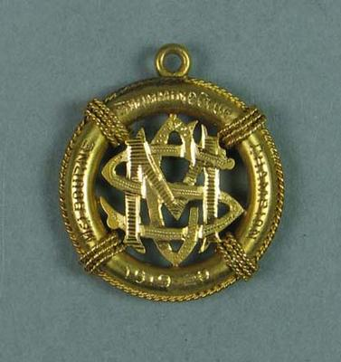 1919-20 Melbourne Swimming Club Champion medallion, won by Frank Beaurepaire