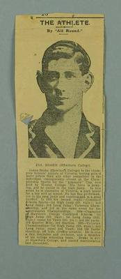 """Newspaper clipping - 'The Athlete' by """"All Rounder"""". - re James Brake.; Documents and books; 2001.3793.3"""