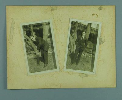 Two photographs, depict a man in a suit with & without a cricket bat - 1920s