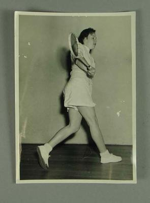 Photograph of Rae Maddern playing squash, c1950s; Photography; 2001.3758.6