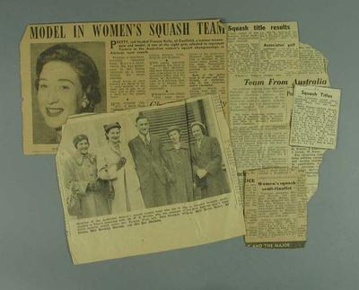 Six newspaper clippings, related to squash events in Victoria c1950s; Documents and books; 2001.3758.9