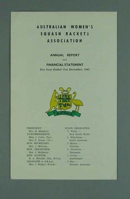 Annual report, Australian Women's Squash Rackets Association 1965