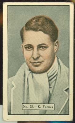 1936-37 Allen's Cricketers Ken Farnes trade card
