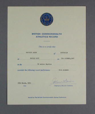 Certificate for British Commonwealth 80m Hurdles Athletics Record, presented to Maureen Caird