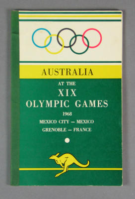 Booklet, Australia at the 1968 Olympic Games