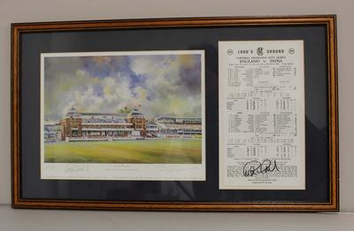 Facsimile print of Lord's Pavilion together with match results England v India July 1990,  Cornhill Insurance Test Series, contained within frame