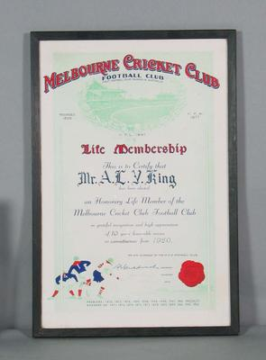 Framed Honorary Life Membership Certificate, MCCFC, awarded to A.L.V.King, 12 February 1960