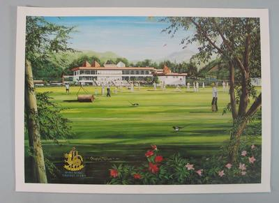 Reproduction as poster of original 1992 painting of Hong Kong Cricket Club - presentation gift.