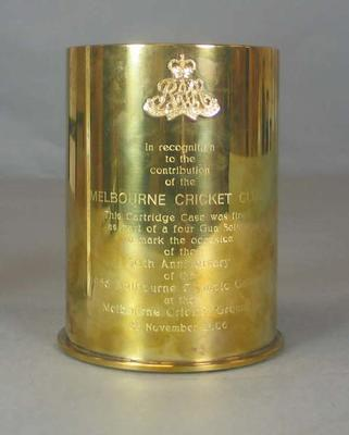 Engraved Cartridge Case, empty, fired  at MCG 22 November 2006 marking 50th anniversary of 1956 Melbourne Olympic Games