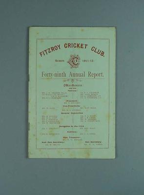 Annual report, Fitzroy Cricket Club - season 1911/12