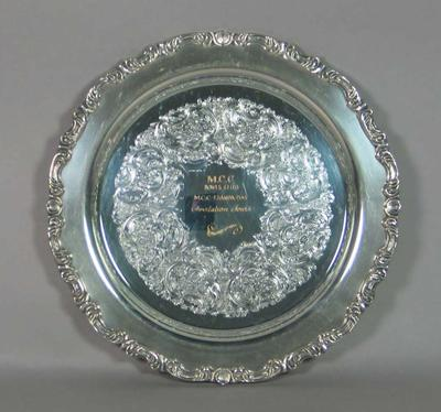 Silver plate awarded for MCC Bowls Club MCC-Esanda Day Invitation Fours, February 14 1993
