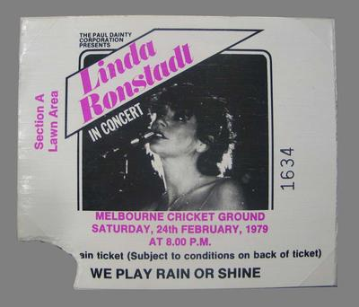 Concert ticket for Linda Ronstadt concert held at the MCG Saturday 24 February 1979