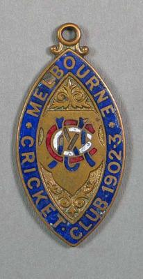 Membership medallion; Melbourne Cricket Club 1902/03 Season.