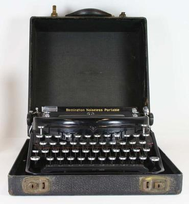 Typewriter and accompanying leather case used by Ben Kerville circa 1946
