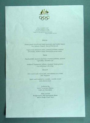 Menu, Dinner Celebrating 50th Anniversary of 1956 Olympic Games
