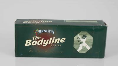 Arnott's biscuit packaging, featuring image of Don Bradman