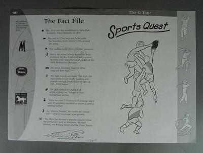 The G Tour Sports Quest - A4 sheet