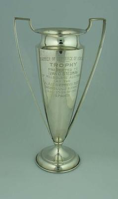Chamber of Commerce of Honolulu Trophy presented to Ivan C. Stedman May 1921