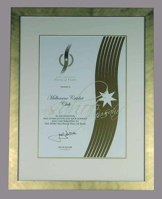 Sport Australia Hall of Fame Certificate, framed, presented to the Melbourne Cricket Club
