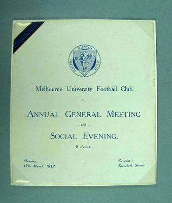 Invitation to Melbourne University Football Club AGM & Social Evening, 17 Mar 1912